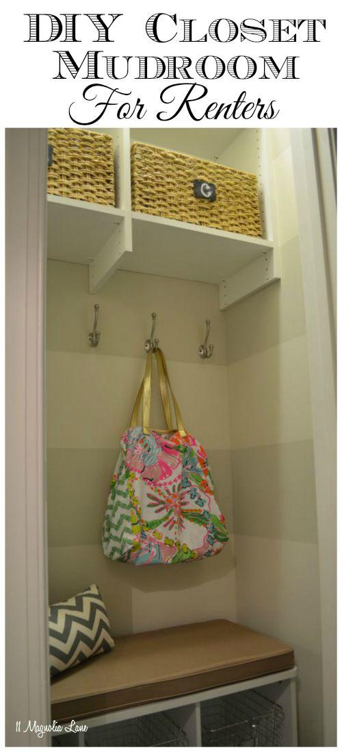 DIY closet turned mudroom for renters | 11 Magnolia Lane