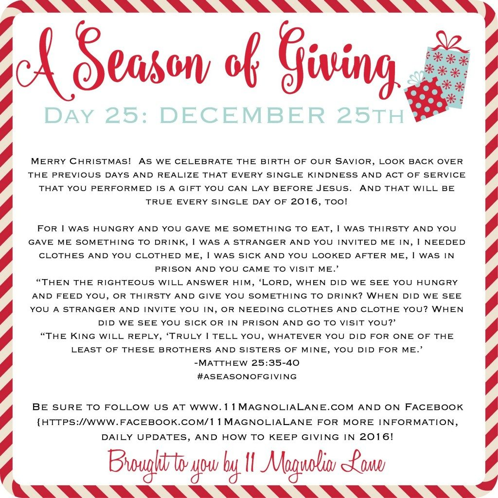 A Season of Giving: Day 25