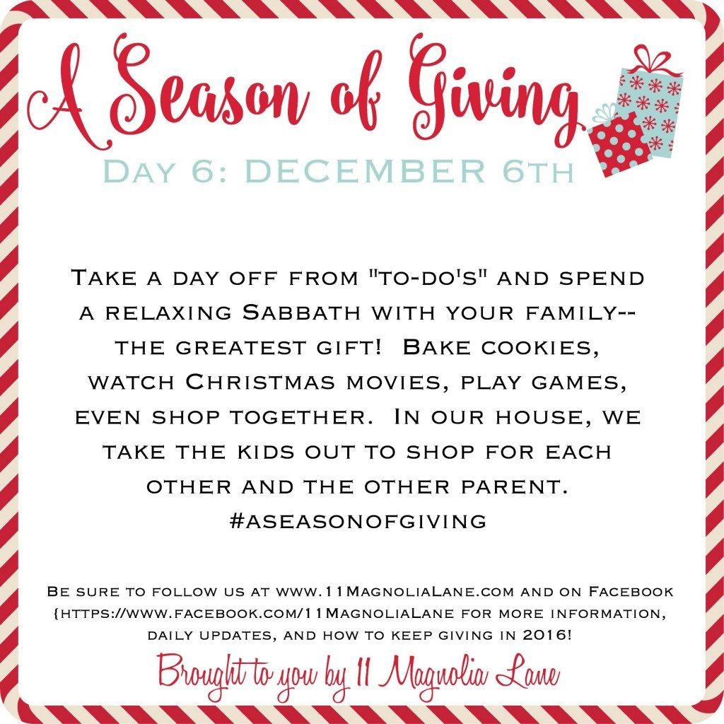 A Season of Giving: Day 6