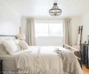 Beautiful master bedroom makeover from Making it in the Mountains shared at the Pretty Preppy Party