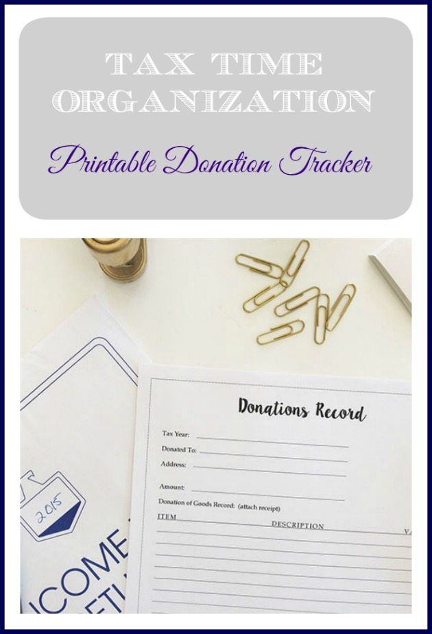 Friday Free for All–Tax Organization & Printable Charitable Donation Tracker