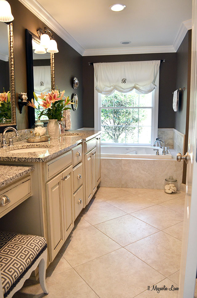 Master bathroom in browns and grays | 11 Magnolia Lane