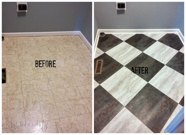 Peel and stick tile flooring by DIYBeautify