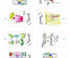 Lilly Pulitzer free printable Cheers cocktail party gift tags | 11 Magnolia Lane