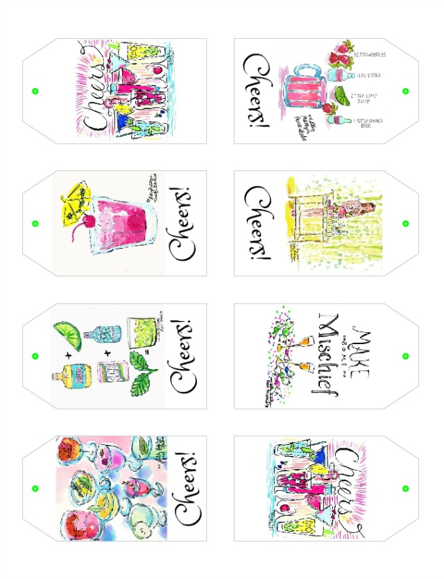 Lilly Pulitzer Inspired Cocktail Party Gift Tags