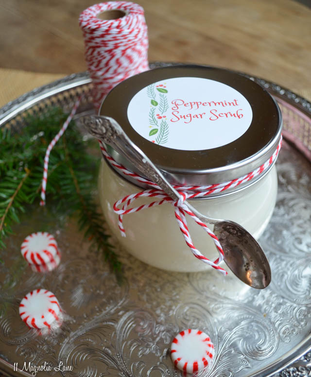 Easy Peppermint Sugar Scrub recipe--perfect for Christmas teacher gifts! | 11 Magnolia Lane