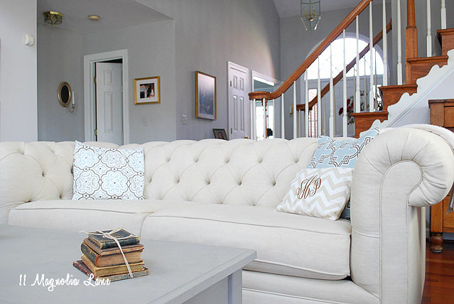 High Quality You Can See My Mom Selected The Pottery Barn Upholstered Chesterfield Sofa  In Oatmeal Linen, Isnu0027t It Beautiful? I Also Have Some Lower Cost  Alternatives ...
