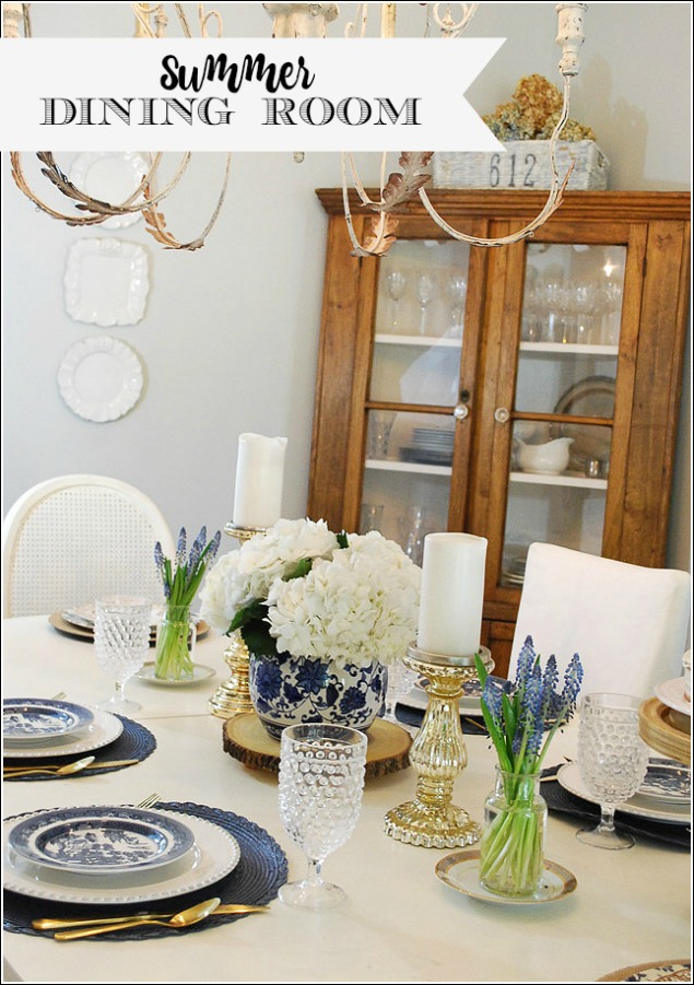 Summer Dining Room in Blue + White