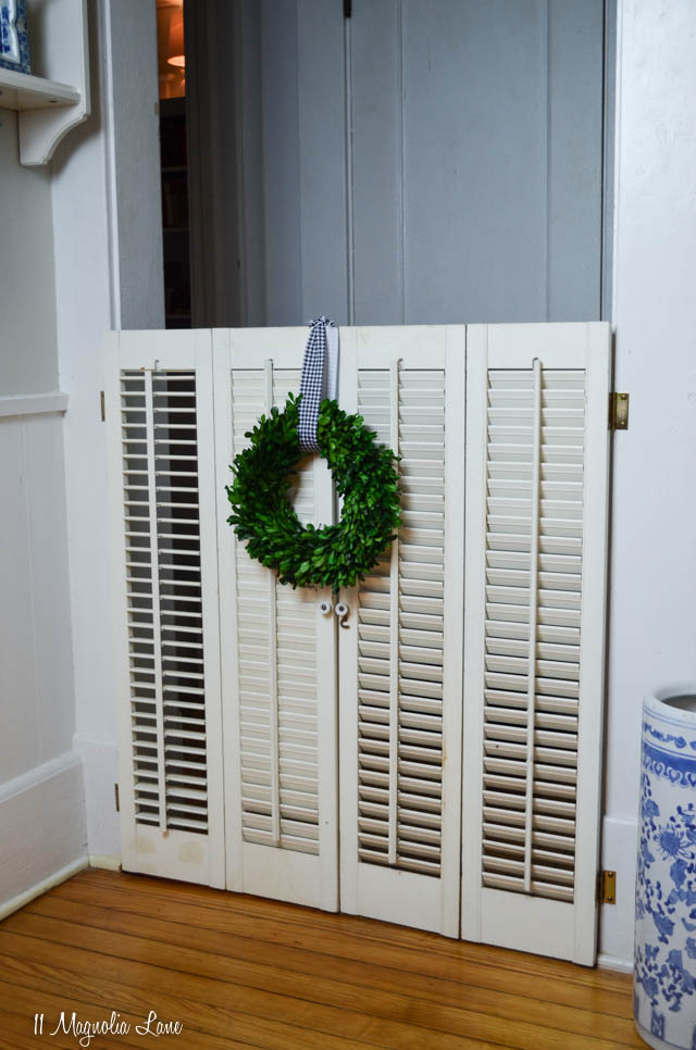Plantation shutter turned into dog gate, neutral